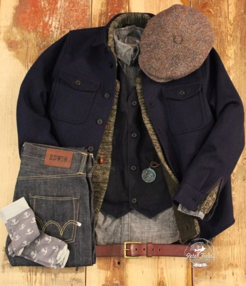 peterfieldsberlin:  Friday Outfit with… Hatteras Harris Tweed Hat from Stetson Europe.Angus Shirt in navy from Kings Of Indigo. Cardi Knit in cargo green from LEE 101. Alberto Deep Broken Vest in denim from Nudie Jeans Co.Gunnar Organic Shirt in black chambray denim from Nudie Jeans Co.Popeye Talisman patinated from feinschmuck. ED-55 unwashed Jeans from Edwin Europe.Anchor Socks from Iron & Resin.