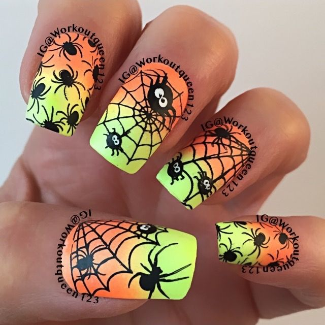 Spiders & Spiderwebs polishes used #colorclub Nit-so-mellow yellow, Foxy mama, #mundodeunas black-2 stamping plate used #uberchicbeauty Halloween-1. Halloween nail art.
