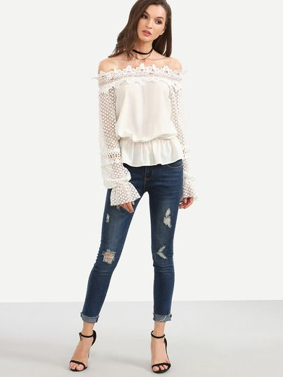 White Off The Shoulder Crochet Sleeve Blouse -SheIn(Sheinside)