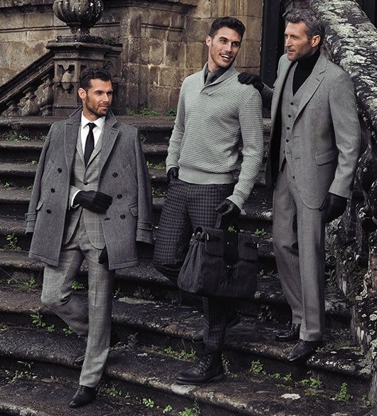 Graceful Greyscale: ruined stairway; black leather gloves, hair, necktie, satchel, & shirt; charcoal slacks, grey tartan slacks, overcoat, midgrey suit, light grey sweater, classic white dress shirt, grey necktie
