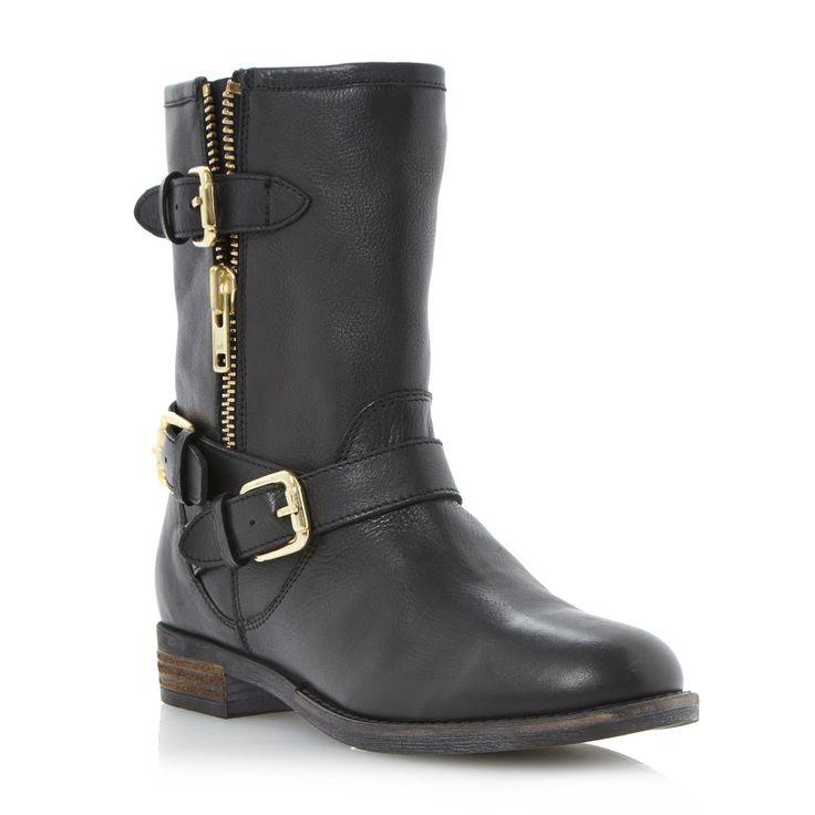 DUNE LADIES ROBBIN - Side Zip and Buckle Trim Biker Boot - black | Dune Shoes Online