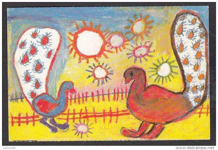 11696/ DESSIN D'ENFANT (8 ans) *La danse joyeuse des paons indiens*, 2 scans