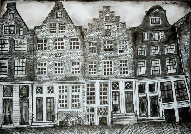 Amsterdam sketch. Old historical houses