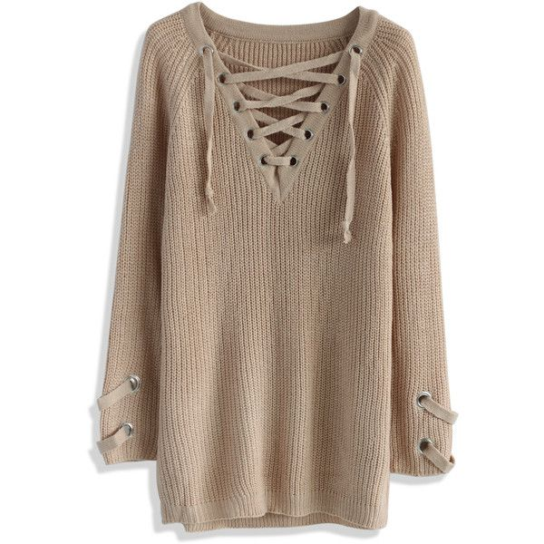 Chicwish Lace-up Mood Sweater (205 MYR) ❤ liked on Polyvore featuring tops, sweaters, brown, brown tops, laced tops, lace front top, lacy tops and laced up top
