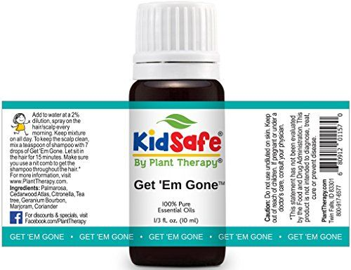 Plant Therapy KidSafe Get 'Em Gone (Formerly Lice Away) Synergy Essential Oil Blend. 100% Pure, Undiluted, Therapeutic Grade Essential Oils. 10 ml (1/3 oz).
