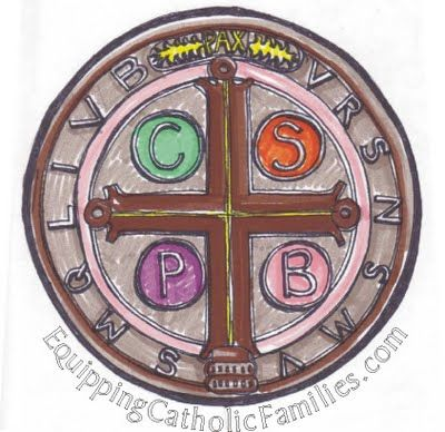 Giant St Benedict Foil Medal Craft with FREE printable | Equipping Catholic Families