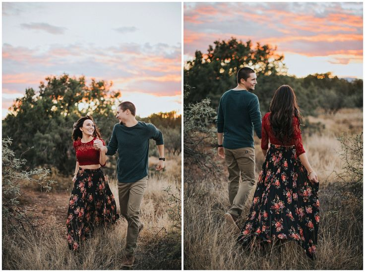 long flowy skirt with bold textured top! Love this couple's look.