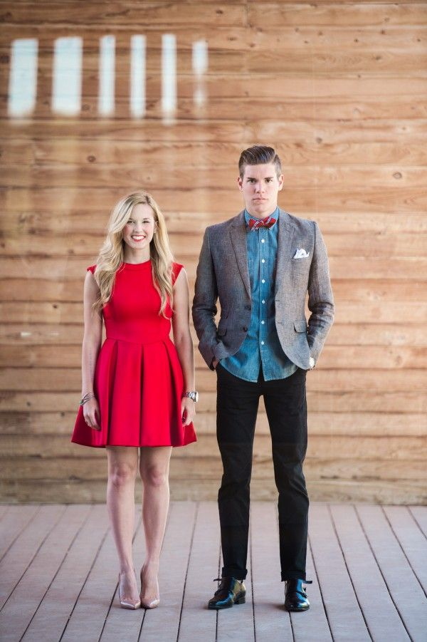 Take notes from these two on what to wear for your engagement photos! Photo by Matthew Moore Photography