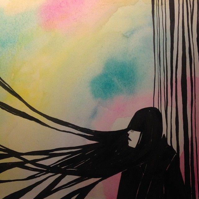 I blåsväder #illustration #ink #instaart #art #idasondell #Bläcksvettochtårar