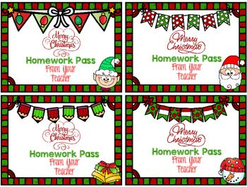 FREE These are cute little homework passes to give to your students to spread a little Christmas Cheer!  My kids love having NO HOMEWORK!