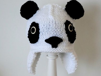 knitted Panda hat 3 - 8 years