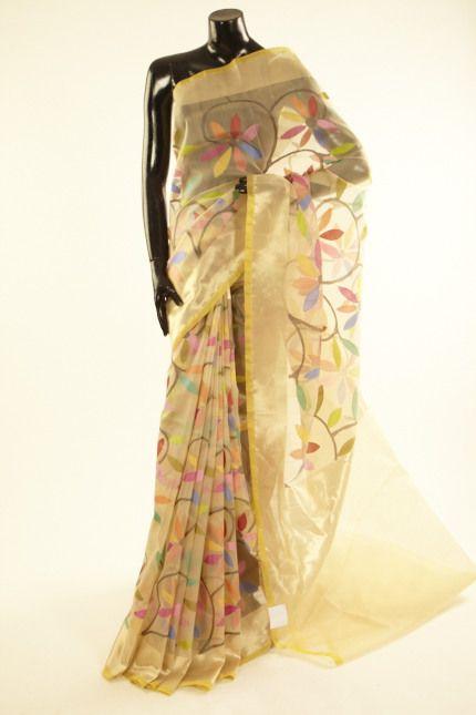 Banarsi- kora silk cream tussar saree with blouse
