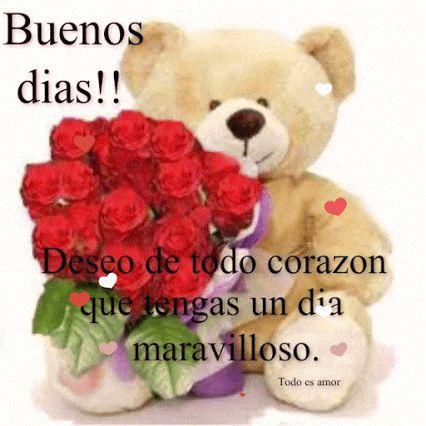 Ver imagen de un lindo osito acompañado de un bello ramo de rosas rojas y corazones con brillo y movimiento junto a la frase: Buenos días!! Deseo de todo corazón que tengas un día maravilloso