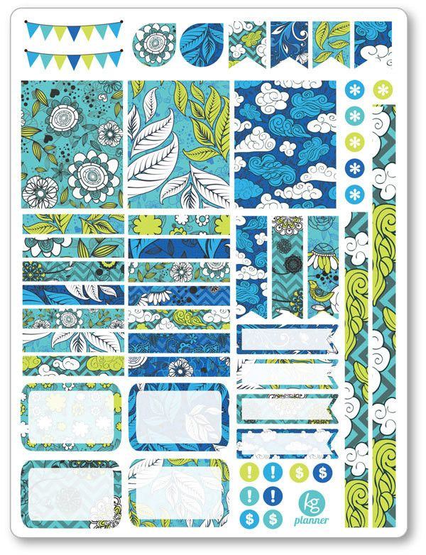 Blue Sky Decorating Kit / Weekly Spread Planner Stickers