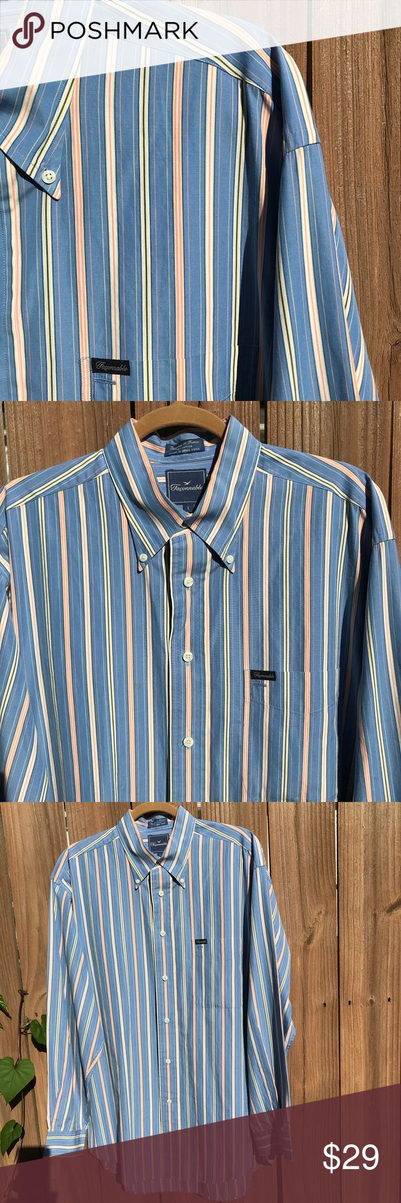 Men's Faconnable shirt blue Large Faconnable casual dress shirt 100% cotton Made in Hong Kong Size Large Excellent preowned  condition Faconnable Shirts Casual Button Down Shirts