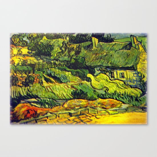 """Reproduction of a painting by Vincent Van Gogh (1853-1890), Dutch artist.   Les Chaumes translated in French means """"Long straw used to cover the houses.""""   Farmhouse, Cottage, Painting, Van Gogh, Digital Reproduction, History, Baroque Art, Vintage, Rare."""