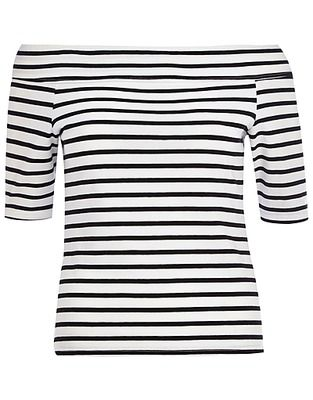 River Island Short sleeve tops, Price: GBP 18.00, Black and white stripe bardot top