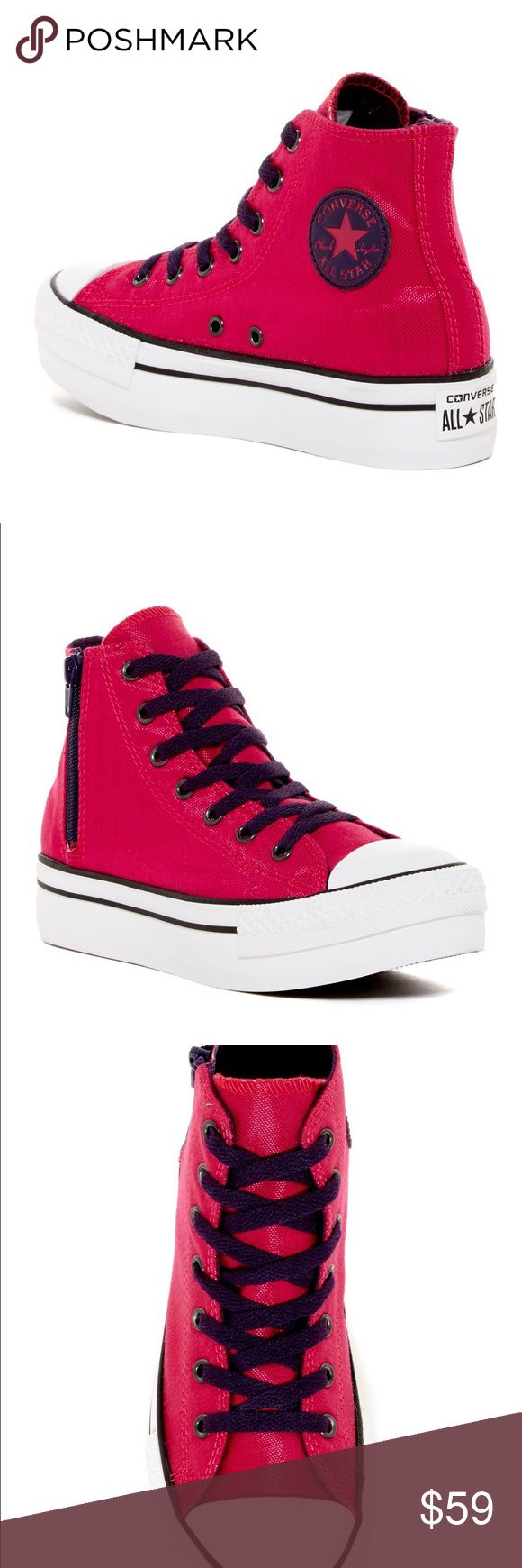 CONVERSE ZIP BERRY SIZE 7 WOMENS SHOES Shoes are a size 5 juniors which is a women's size 7. Brand new without box. Converse Shoes Sneakers