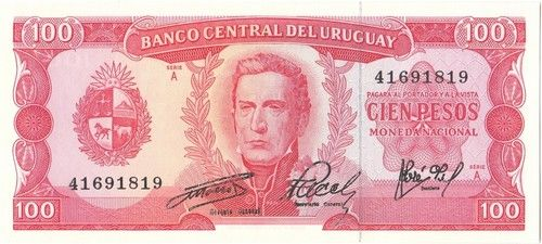 A 1967 Uncirculated 100 Pesos Banknote from Uruguay , fresh