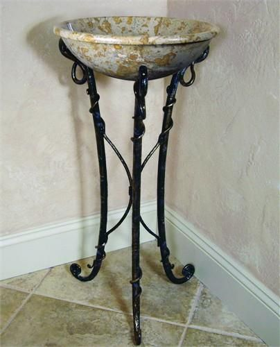 Yosemite Home Decor FIRESTINE-4 Material Iron 16 x 16 x 31. FIRESTINE-4 Yosemite Home Decors Firestine-4 stand is made of iron. This iron stand is made by human hands with some aid of tools to curl and twist the iron. The Firestine-4 iron stand has dimensions of 16 x 16 x 31 inches. .. . See More Sink Stands at http://www.ourgreatshop.com/Sink-Stands-C1060.aspx