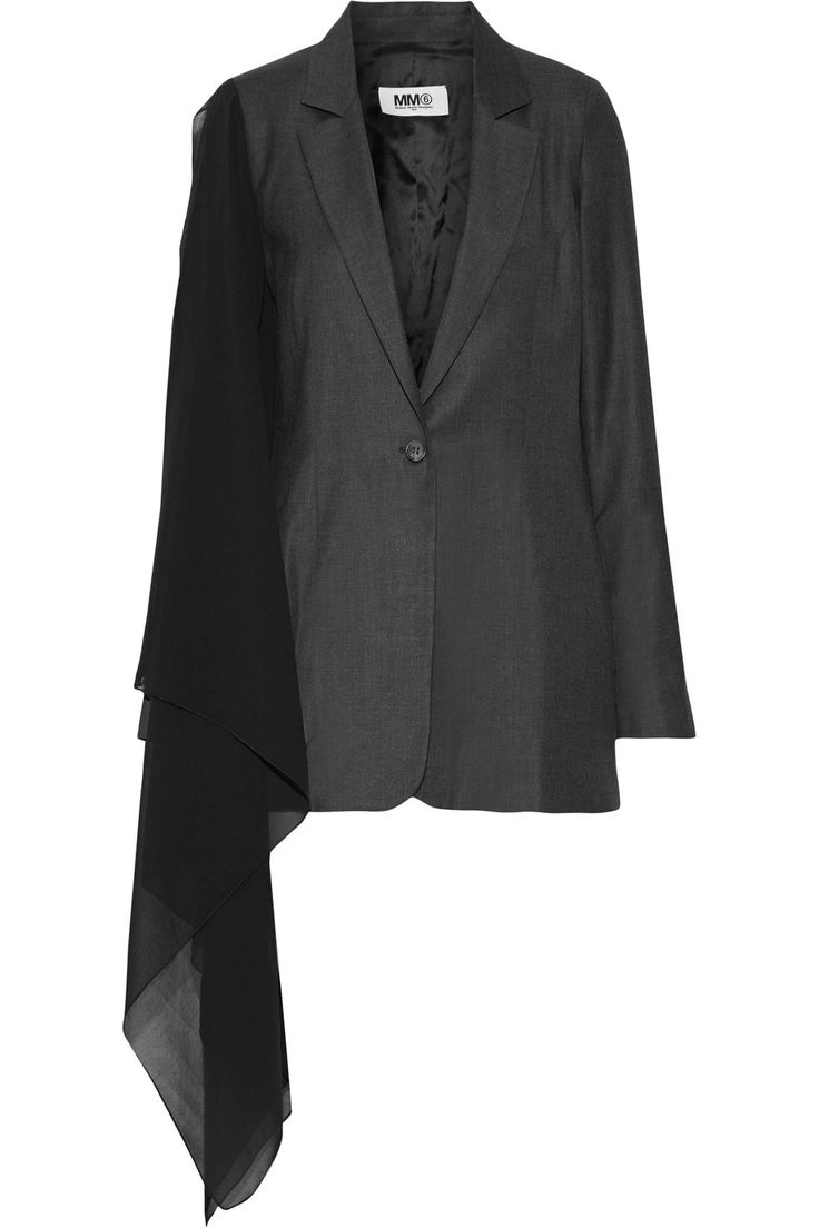 Shop on-sale MM6 Maison Margiela Chiffon-paneled wool-blend blazer. Browse other discount designer Jackets & more on The Most Fashionable Fashion Outlet, THE OUTNET.COM