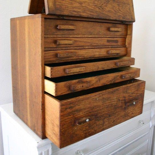 """Vintage Oak Machinist Tool Chest Box. Measurements: 19 1/2""""H x 19""""W x 12""""D."""