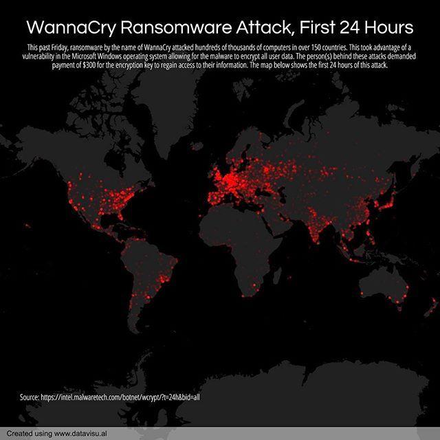 134/365 WannaCry Ransomware Attack, First 24 Hours. #everyday #malware #wannacry #ransomware #cyberattack #attack #cyber #global #world #nsa #microsoft #data #dataviz #datavisual #datavisualization #chart #graph #design #map #mapporn #visual #visualization #infographic #infographics #informationdesign #d3