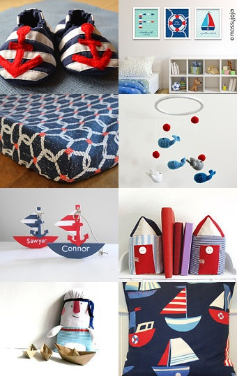 Nautical Baby Nursery navy blue & red