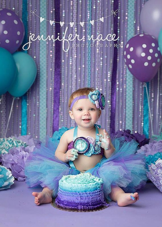Ombre Turquoise, Purple, Lavender, Aqua, Tutu, Top & Headband- Ocean, Mermaid, Birthday, 1st birthday, Girl, Infant, cake smash, photo prop on Etsy, $60.95