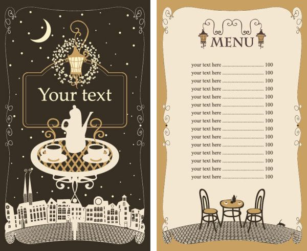 Set of cafe and restaurant menu cover template vector 05