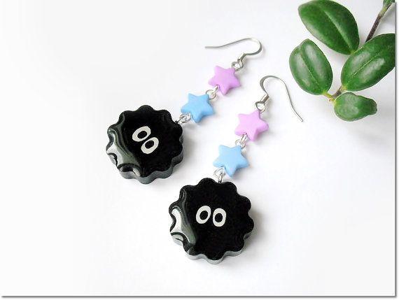 Soot Sprite earrings, resin soot sprite charms earrings, Totoro, Spirited Away inspired earrings, Studio Ghibli anime, gamer geek girl gift