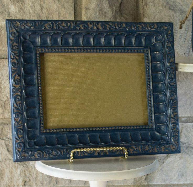 navy distressed frame navy gold picture frame navy home decor shabby chic frame wedding picture frame