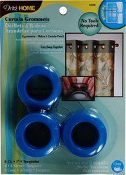 Dritz 44446 Curtain Grommets, Turquoise, 1-Inch, 8-Pack by Dritz. $9.18. These 1-inch inner diameter plastic grommets will fit rods up to 13/16-inch and they simply snap together-no special tools required. A template is included to help aid in placement and can be easily removed with a screwdriver. Available in turquoise color. Curtain grommets are use to customize window treatments and shower curtains. Contains 8 grommets; machine washable. Curtain grommets are use to cust...