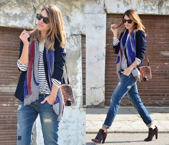 Ralph Lauren Blazer, Romwe Leopard Bag, Zara Boyfriend Jeans, Karen Walker Sunglasses: Navy Blazers, Blazer Outfits, Style Inspiration, Street Style, Outfit Inspiration, Scarf, Style File, Fashion Style More