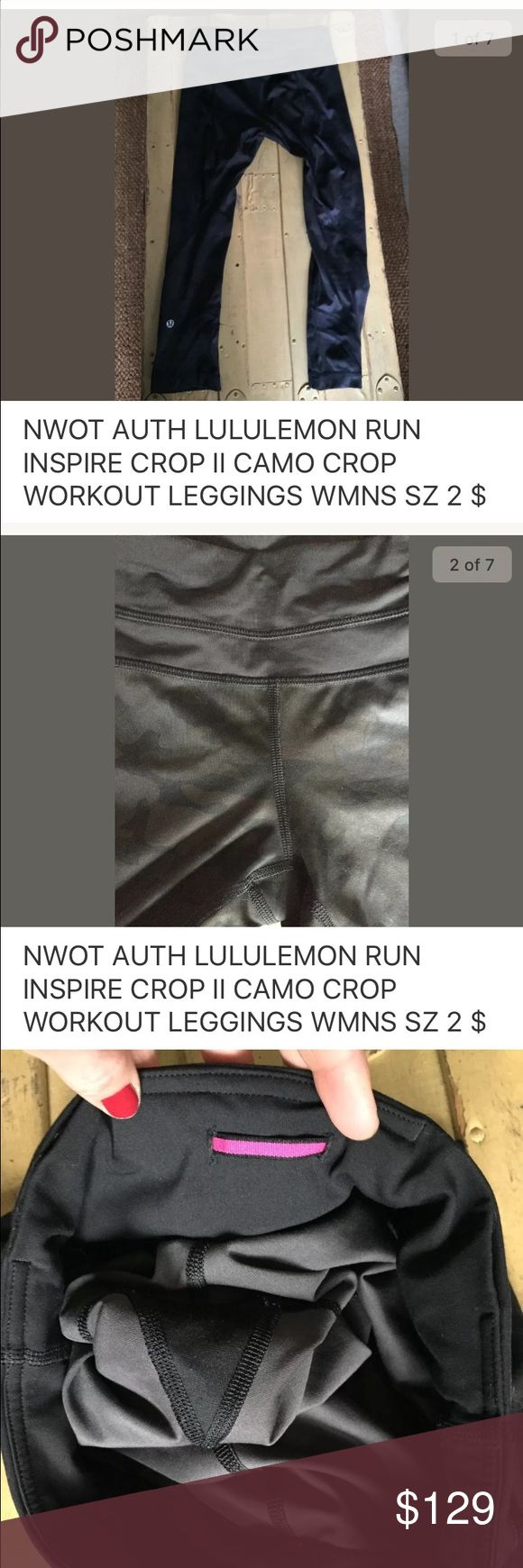 """🚫SOLD🚫NWOT LULULEMON RUN CROP II CAMO LEGGING 2 🚫SOLD🚫NWOT AUTH LULULEMON RUN INSPIRE CROP II CAMO CROP WORKOUT LEGGINGS WMNS SZ 2 SOLD OUT & RARE!!! 100% authentic Lululemon brand Women's size: 2 (regular) Condition: new without tags, store display; see photos for specific detail Style name: """"run inspire crop II"""" Color/pattern: unsure of specific name – it is a black camouflage pattern * convenient zip pocket at back top of pants All items come from a CLEAN, SMOKE FREE HOME lululemon…"""