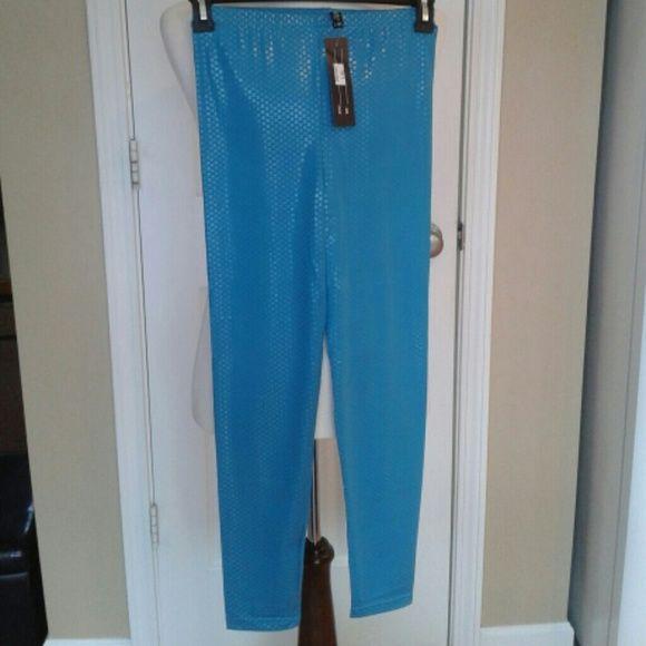 Liquid Teal Blue Leggings Teal Blue leggings with elastic waistline size L/XL Other