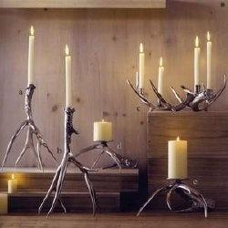 Polished antler candlestick holders