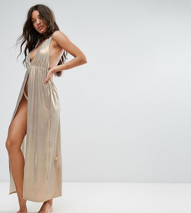 And Co Low Pool Party Maxi Beach Dress - Silver