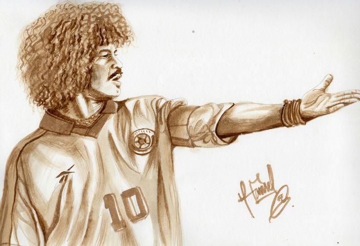 """Retrato hecho con café del futbolista colombiano Carlos Valderrama """"El Pibe"""""""