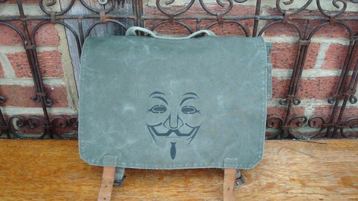 Anonymous, Vintage Yugoslavian Army backpack,crossbody,messenger bag,ipad,laptop,canvas bag. $55.00, via Etsy.
