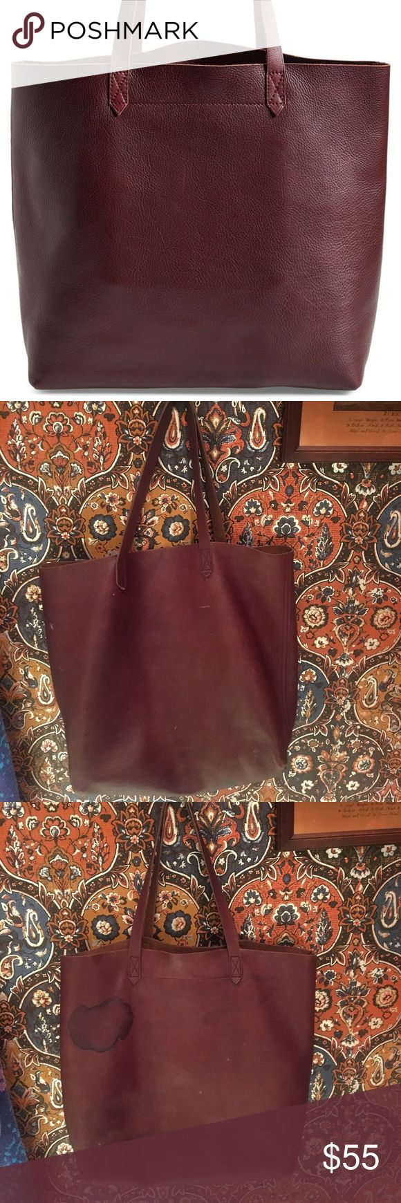 Madewell Transport Tote Burgundy tote. There is a stain on the top left (see picture) but it still has some life left in it! Madewell Bags Totes
