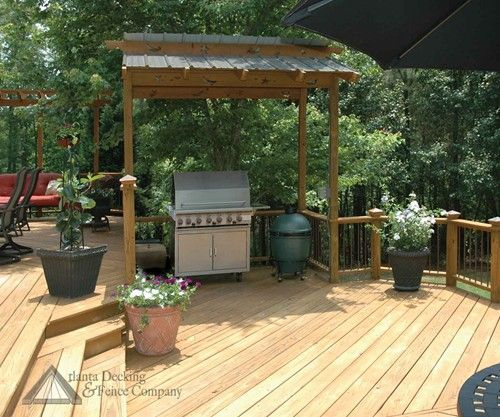 Wood deck with roof over grill
