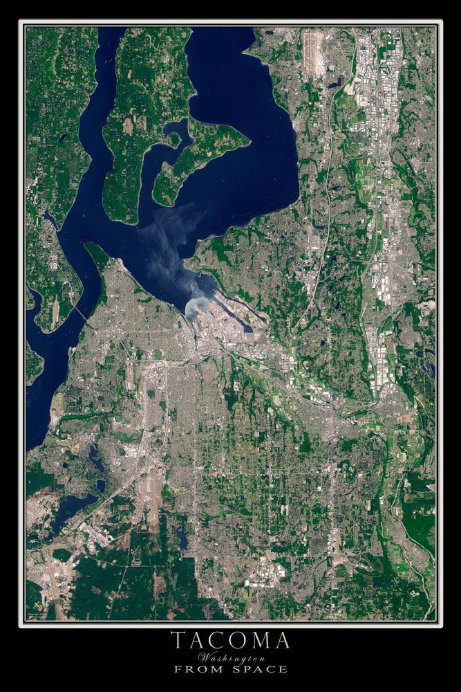 Map Of Oregon State Fairgrounds%0A Tacoma Washington From Space Satellite Poster Map