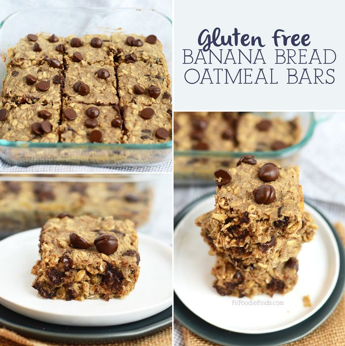 Gluten Free Banana Bread Oatmeal Bars- naturally sweetened and made in less than 30 minutes! via FitFoodieFinds.com