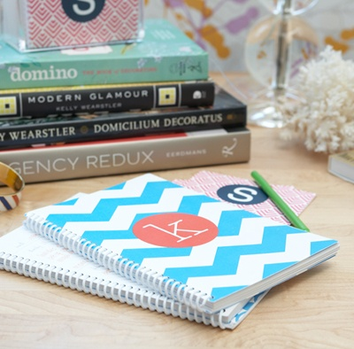 Adorable monogrammed planner. We love the azure and white chevron!