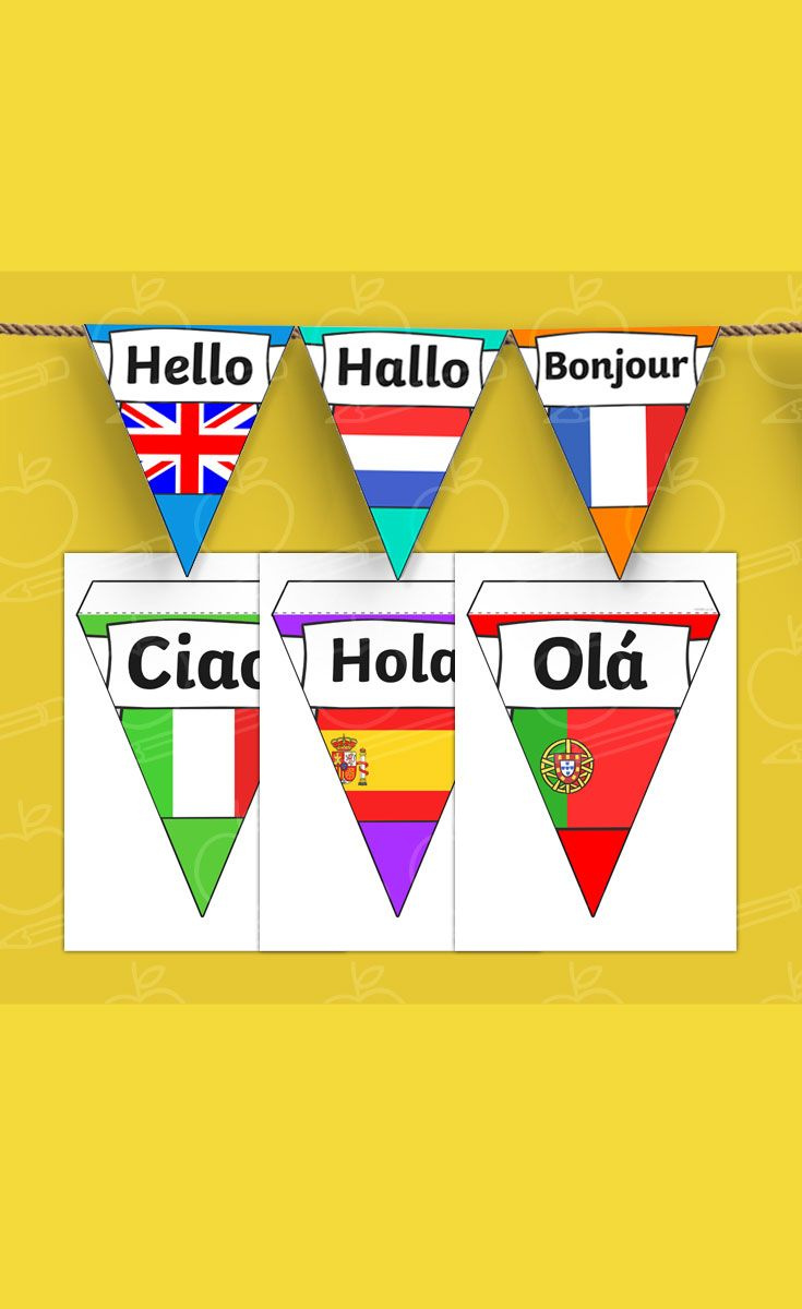 Mixed Languages Hello Bunting
