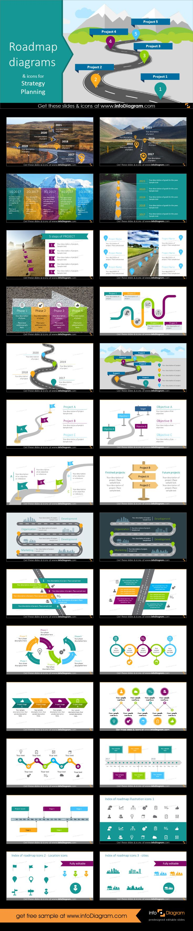 Roadmap diagrams Presentation template with various roadmap diagrams and timeline infographics for creating strategy and project plans. Using editable roadmap shapes you can easily show long-term milestones or present a project objectives or stages over a year.
