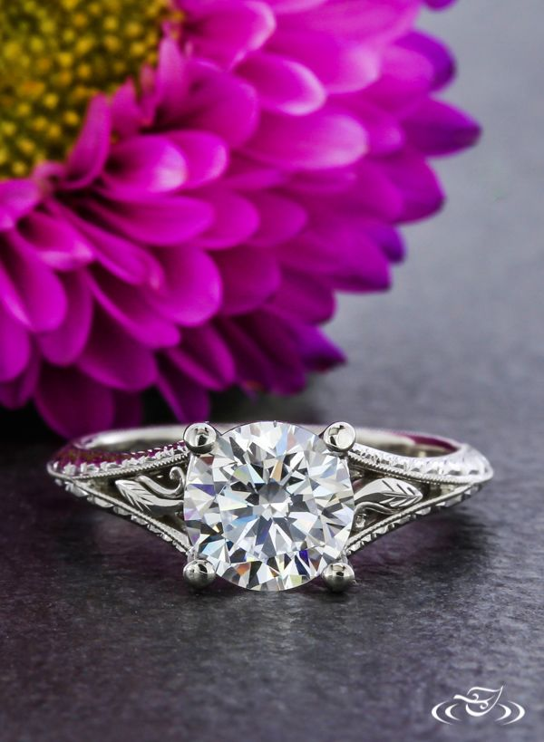Platinum Scroll Engraved Engagement Ring.Green Lake Jewelry