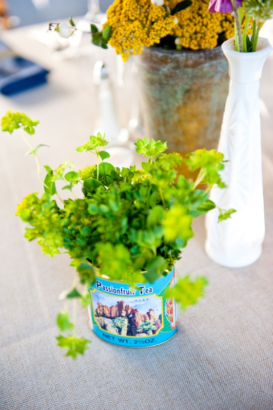 bupleurum in a tea tin Standard roses, Garden wedding