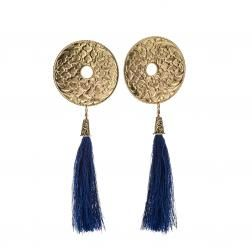 Deep indygo and gold, classic match. Handcrafted earrings from NEPAL collection by Anna Orska.